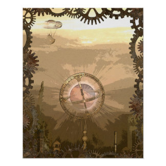 Steampunk Inspired Gears & Airship Steam City Poster