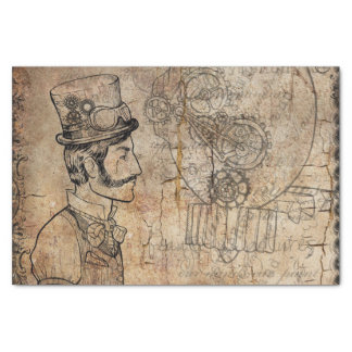 Steampunk Inventor Top Hat Father's Day Tissue Paper
