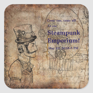 Steampunk Inventor Top Hat Personalized Square Sticker