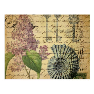 steampunk keys french botanical purple lilac postcard