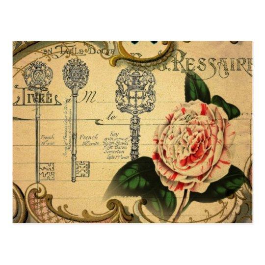 steampunk keys modern vintage pink flower camellia postcard