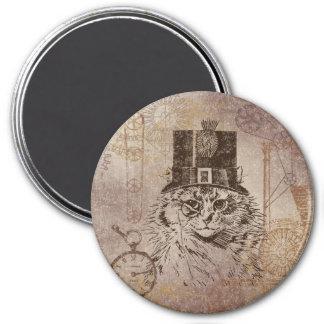 Steampunk Kitty Cat in Top Hat, Gears, Pocketwatch 7.5 Cm Round Magnet