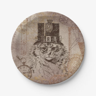 Steampunk Kitty Cat in Top Hat, Gears, Pocketwatch Paper Plate