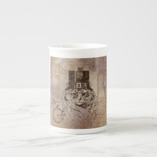 Steampunk Kitty Cat in Top Hat, Gears, Pocketwatch Tea Cup