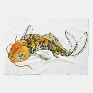Steampunk Koi Tea Towel