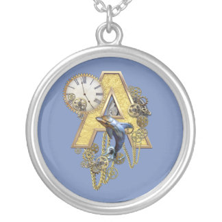 Steampunk letter A Silver Plated Necklace