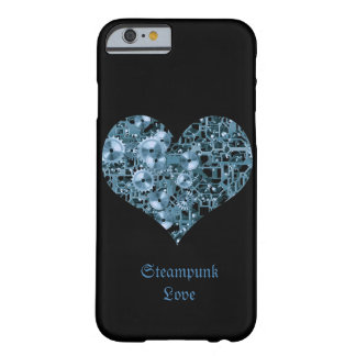 Steampunk Love Blue Cogs Steel Heart on Black Barely There iPhone 6 Case