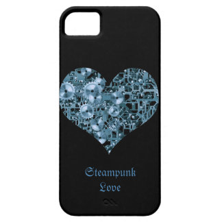 Steampunk Love Blue Cogs Steel Heart on Black iPhone 5 Cover