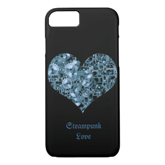 Steampunk Love Blue Cogs Steel Heart on Black iPhone 8/7 Case