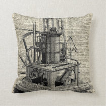Steampunk machine stencil over old book page cushion