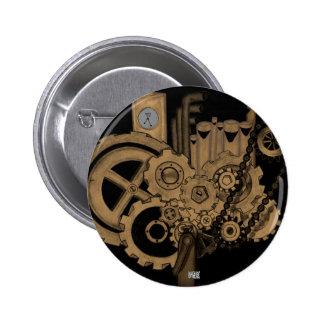 Steampunk Machinery (Brassy) 6 Cm Round Badge