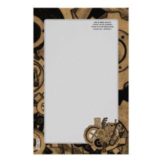 Steampunk Machinery (Brassy) Personalised Stationery