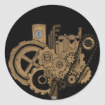 Steampunk Machinery (Brassy) Round Sticker