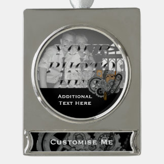 Steampunk Machinery (Full Colour) Silver Plated Banner Ornament