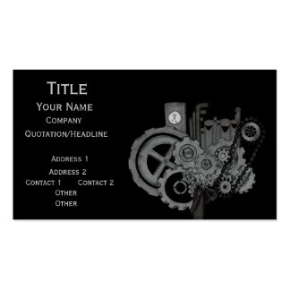 Steampunk Machinery (Monochrome) Business Card Templates