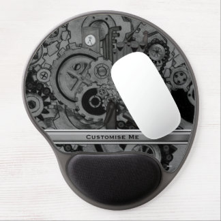 Steampunk Machinery (Monochrome) Gel Mouse Pad