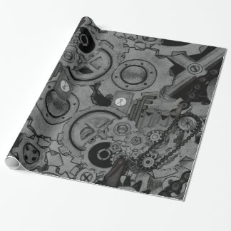 Steampunk Machinery (Monochrome) Wrapping Paper