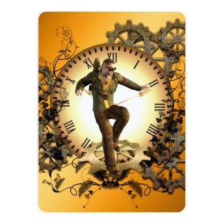 Steampunk, man on a clock 14 cm x 19 cm invitation card