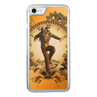 Steampunk, man on a clock carved iPhone 8/7 case