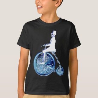 Steampunk man on penny farthing blue white neon T-Shirt