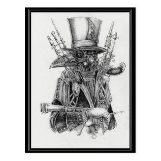 Steampunk Mecha Crow Postcard