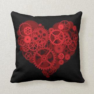 steampunk mechanical heart throw pillow