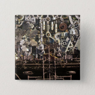 Steampunk mechanical machinery machines 15 cm square badge