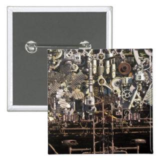 Steampunk mechanical machinery machines 15 cm square badge
