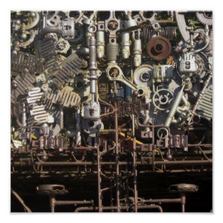 Steampunk mechanical machinery machines poster