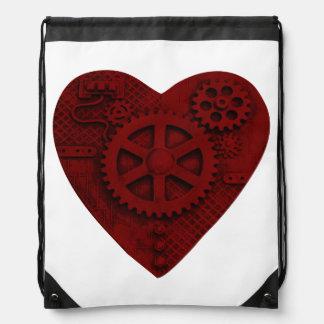 Steampunk Mechanical Red Heart Drawstring Bag