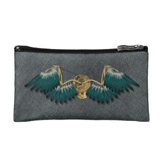 Steampunk Mechanical Wings Grey Cosmetic Bag
