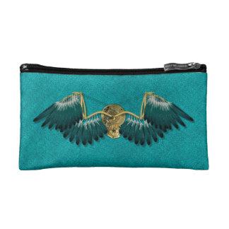 Steampunk Mechanical Wings Teal Cosmetic Bag