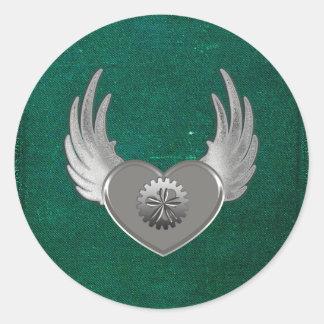 Steampunk Metal Heart Classic Round Sticker
