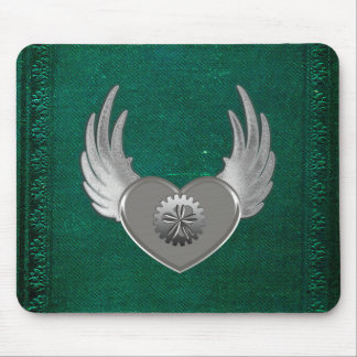 Steampunk Metal Heart Mouse Pad