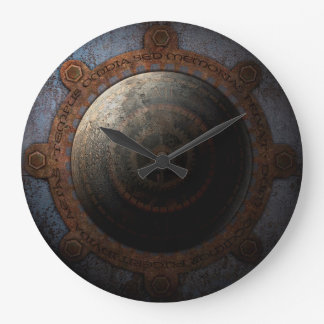 Steampunk Moon Clock Time Metal Gears