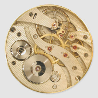 Steampunk moving parts gold classic round sticker