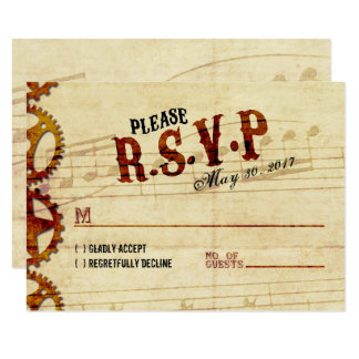 Steampunk Musical Wedding RSVP Card