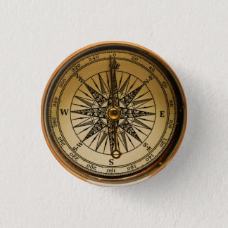 Steampunk Nostalgic Old Brass Compass 3 Cm Round Badge