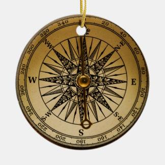 Steampunk Nostalgic Old Brass Compass Round Ceramic Decoration