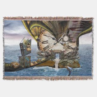 Steampunk  ocean library throw blanket