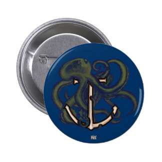 Steampunk Octopus Over Anchor 6 Cm Round Badge