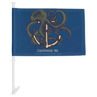 Steampunk Octopus Over Anchor Car Flag