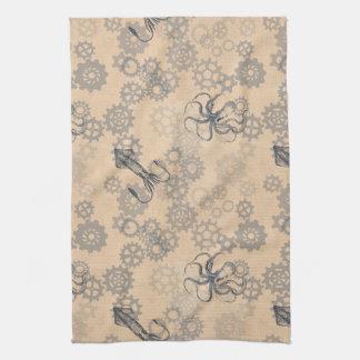Steampunk Octopus tea towel