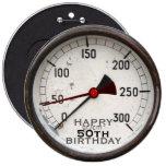 Steampunk Old Manometer 50th Birthday Button