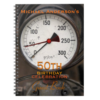 Steampunk Old Manometer 50th Birthday Guest Book