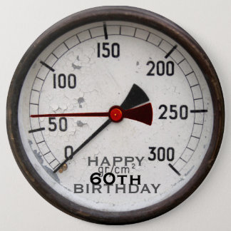 Steampunk Old Manometer 60th Birthday Button
