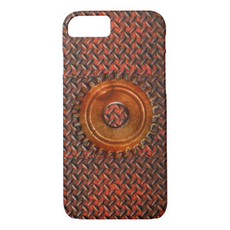 Steampunk Old Rusty Plating Red Metal & Cog iPhone 7 Case