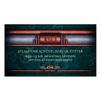 Steampunk Outfitters, Art Deco twist, copper teal Pack Of Standard Business Cards