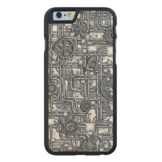 Steampunk Panel - Gears and Pipes - Steel Carved Maple iPhone 6 Case