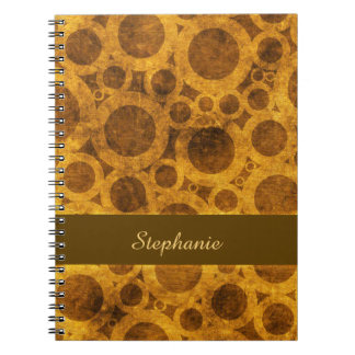 Steampunk Pattern Brown and Gold Grunge Notebook